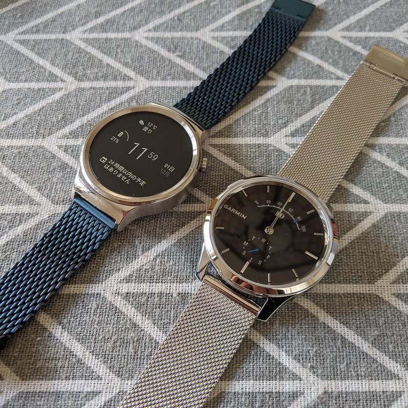 GARMIN vívomove LuxeとHuawei Watch W1(屋内、常時表示時)