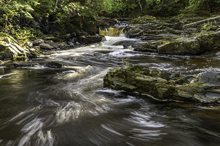 Middle falls on the Silver River in Baraga County, U. P. Michigan