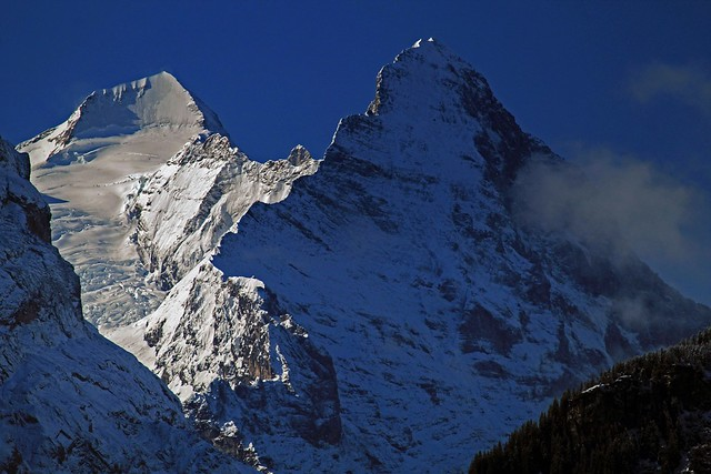 The Monch, 4107m/13,474' and the north face of the Eiger, 3967m/13,015', Bernese Alps, Switzerland.