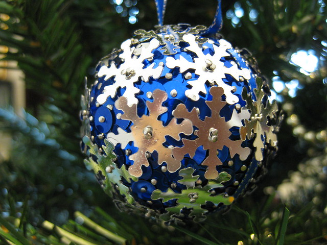 Hand Beaded Royal Blue and Silver Snowflake Christmas Bauble