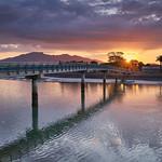 Raglan bridge at sunset