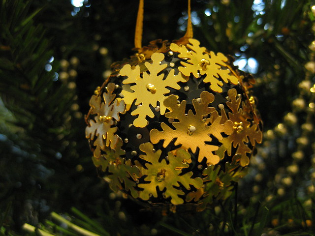 Hand Beaded Black and Gold Snowflake Christmas Bauble