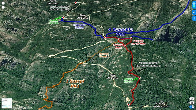 Photo 3D du secteur du chemin de Luviu après la 3ème boucle. Traces du chemin achevé le 01/12/2109 (trait rouge) et de la reconnaissance au-delà (trait bleu)