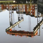 The boat lift reflected