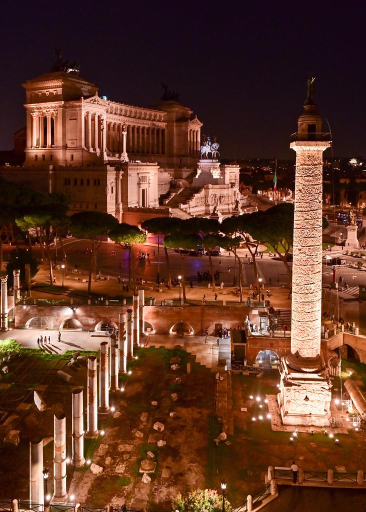 Vistas del foro imperial desde el Oro Bistot de Roma