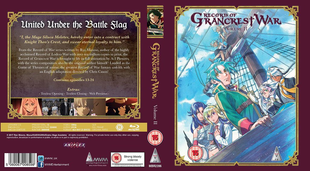 Record of Grancrest War Volume Two MVM Entertainment Bluray Cover