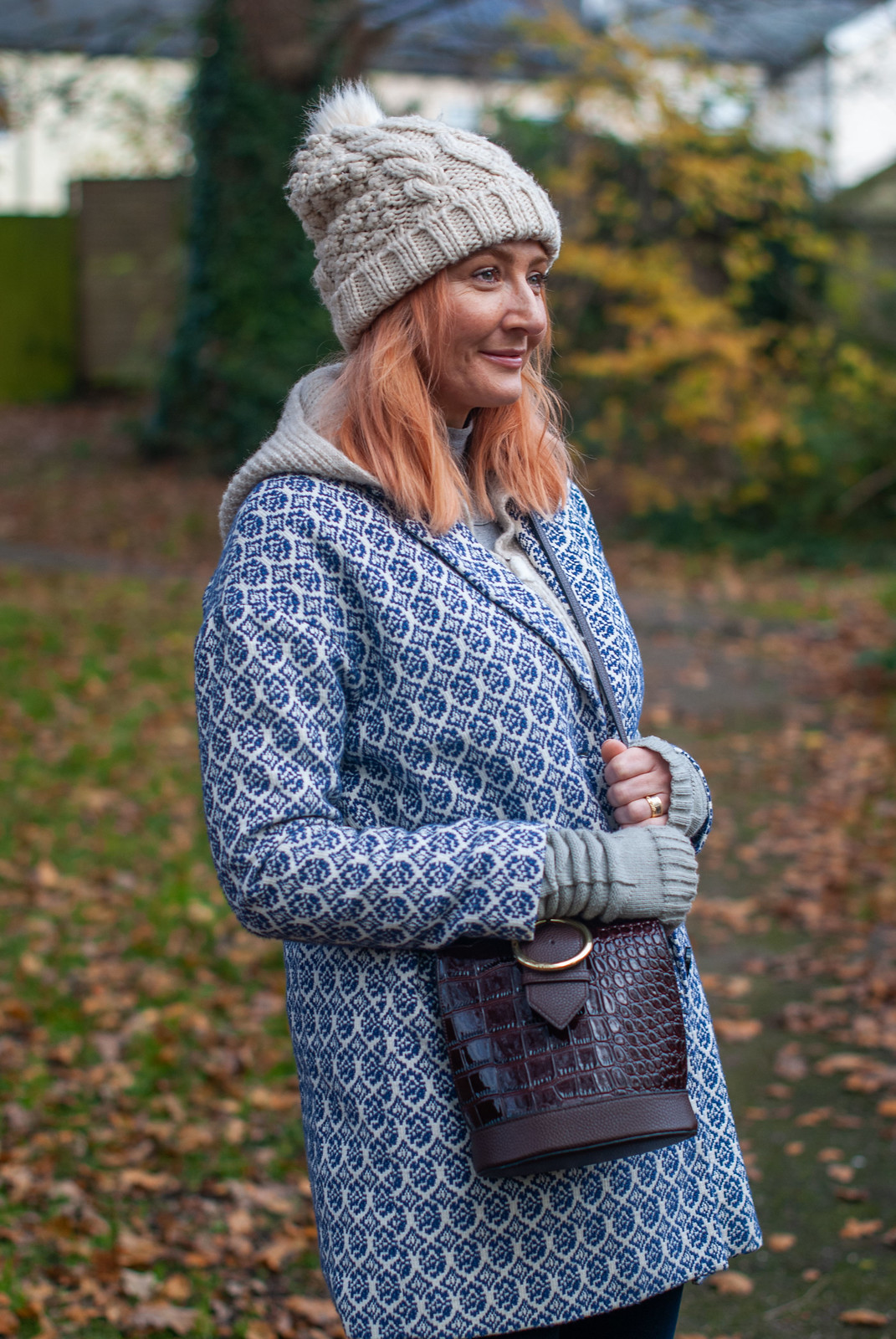 A Warm, Stylish, Walking the Dog Outfit (Jacquard Coat, Knitted Hoodie, Velvet Jeans & Knee High Boots | Not Dressed As Lamb, Over 40 Style