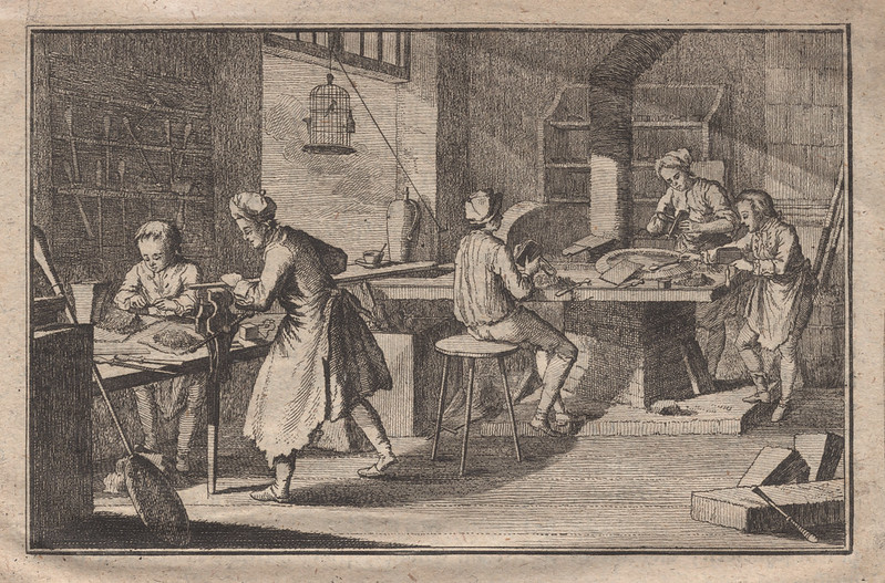 Vignette depicting an (idealised?) type foundry, circa 1762