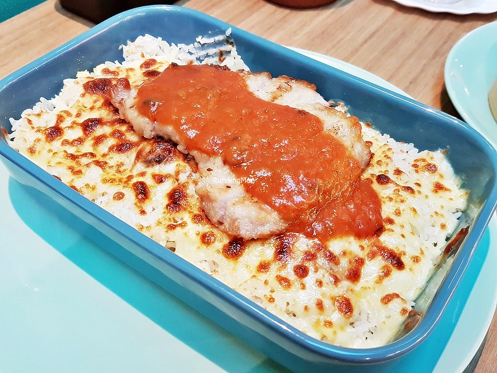 Cheese Baked Rice With Grilled Pork Chop & Tomato Gravy