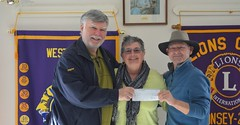 Wayne & Marty presenting a cheque to Judy Pattinson