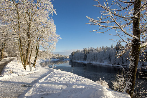 ogre river view city latvia weather sun december aleksandrs čubikins snow blue sky walk winter