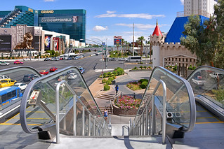 Las Vegas NV, USA 10-01-2018 View of Tropicana Avenue over the pedestrian crossing that connects the NY-NY Hotel & Casino with the Excalibur.