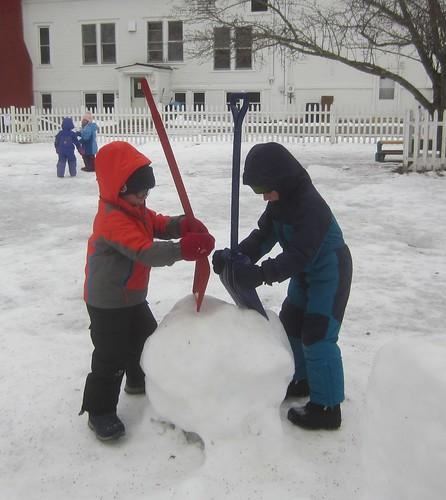 chopping the snowball