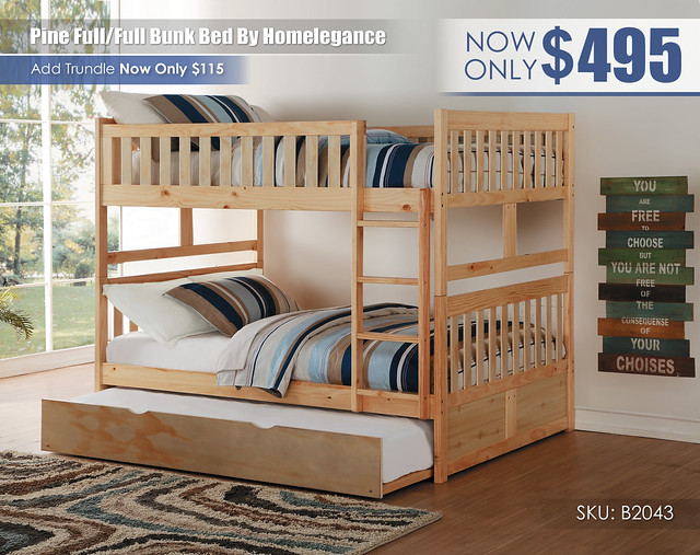Pine Homelegance FF Bunk Bed_B2043