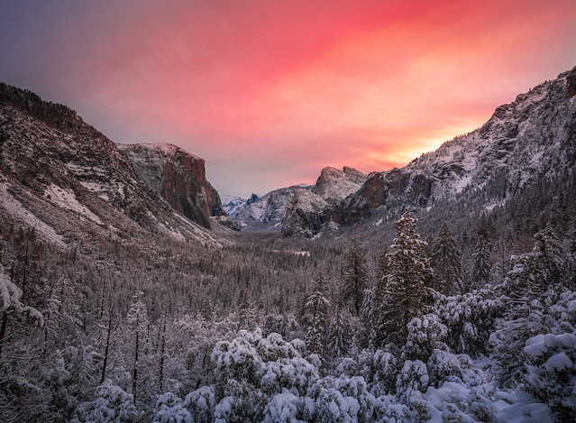 Tunnel View Sunrise Red Orange Yellow Clouds Snowy Yosemite National Park Fuji GFX100 Fine Art Snowstorm Landscape Nature Photography! Yosemite NP Winter Snow! Dr. Elliot McGucken dx4/dt=ic Master Fine Art!  Fujifilm Fujinon GF 23mm f/4 R Lm Wr Lens