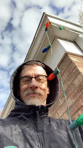 Today might be as warm as it gets. Putting up lights on my house for winter solstice. I've always preferred the look of big old school screw in lights