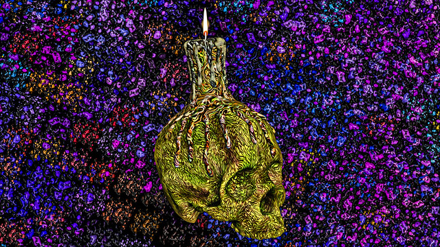 Spooky Skull Color Abstract Art - (HQ)