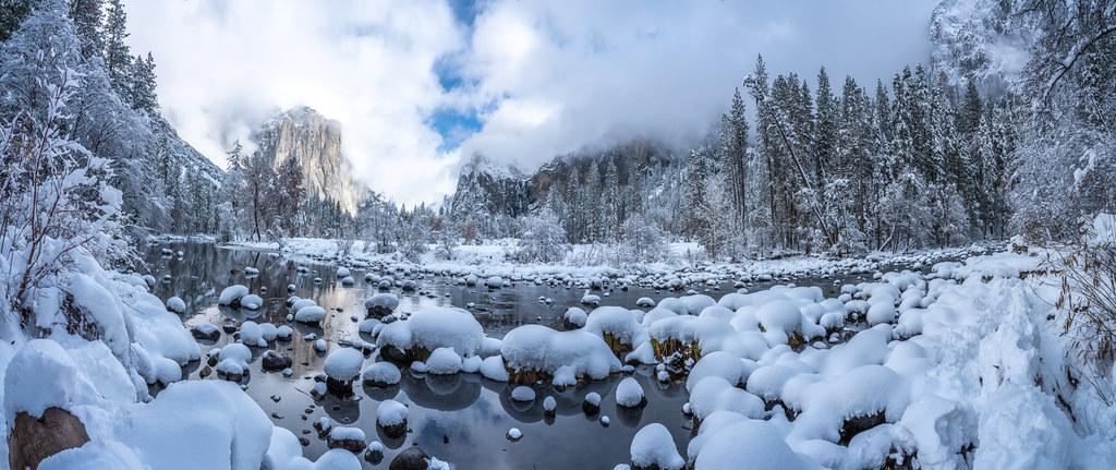 Valley View Snowy Merced River Yosemite National Park Fuji GFX100 Fine Art Snowstorm Landscape Nature Photography! Yosemite NP Winter Snow Elliot McGucken dx4/dt=ic Master Fine Art Medium Format Photographer!  Fujifilm Fujinon GF 32-64mm f/4 R Lm Wr Lens