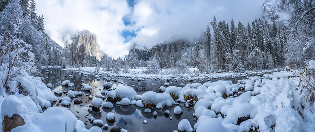 Valley View Snowy Merced River Yosemite National Park Fuji GFX100 Fine Art Snowstorm Landscape Nature Photography! Yosemite NP Winter Snow Elliot McGucken dx4/dt=ic Master Fine Art Medium Format Photographer!  Fujifilm Fujinon GF 32-64mm f/4 R Lm Wr Lens‎