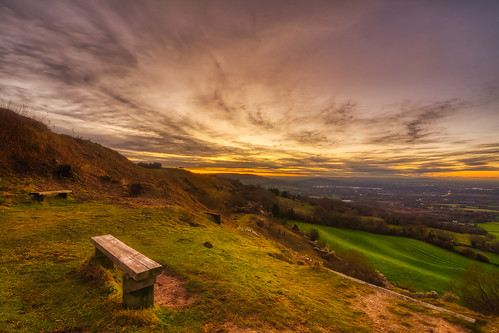 sunset crickleyhill gloucestershire bench emptybench
