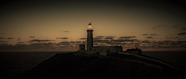 ( Winter Glow ) South Stack Lighthouse at dusk this evening, Ynys Mon.