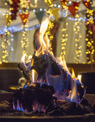 Log burn at the Haven Arms at Christmas.