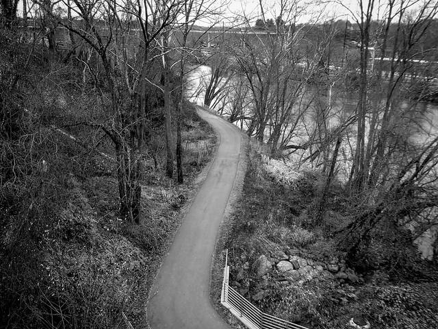 looking down, walkway, urban park, French Broad River, Asheville, NC,  Panasonic Lumix DMC-ZS50, 11.29.19