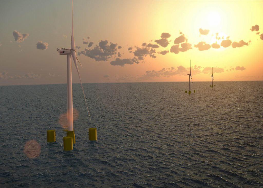 法國格魯瓦島和貝勒島(GroixandBelle-Ile)浮動式風場。圖片來源:FEFGBI / Naval Energies / MHI Vestas Offshore Wind