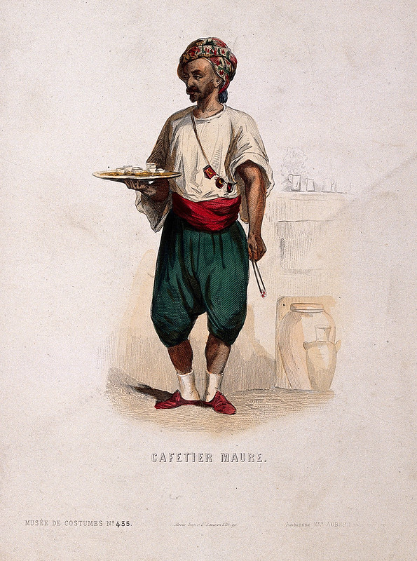 A Turkish coffee vendor with a tray of coffee cups. Coloured engraving, c. 1860.