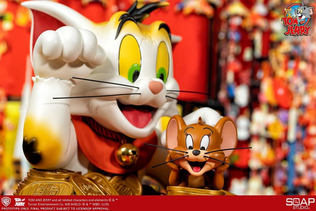 坐擁金山財源滾滾來! Soap Studio《湯姆貓與傑利鼠》湯姆貓與傑利鼠半身胸像 (招財貓特別版) Tom and Jerry Vinyl Bust (Maneki-Neko Ver.)