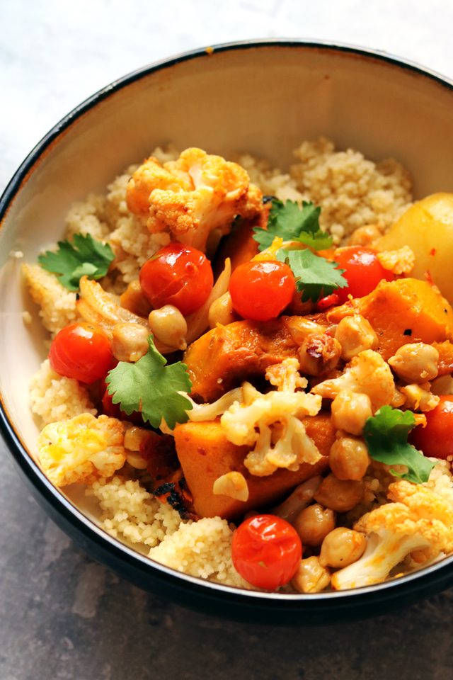 Moroccan Roasted Chickpeas and Vegetables with Couscous