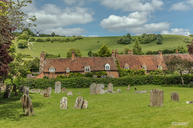 Turville village, churchyard, cottages and Cobstone Windmill, on Turville Hill.