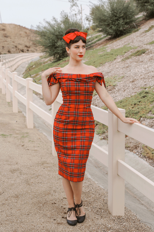 The Pretty Dress Company Tilly Tartan Off The Shoulder Pencil Dress