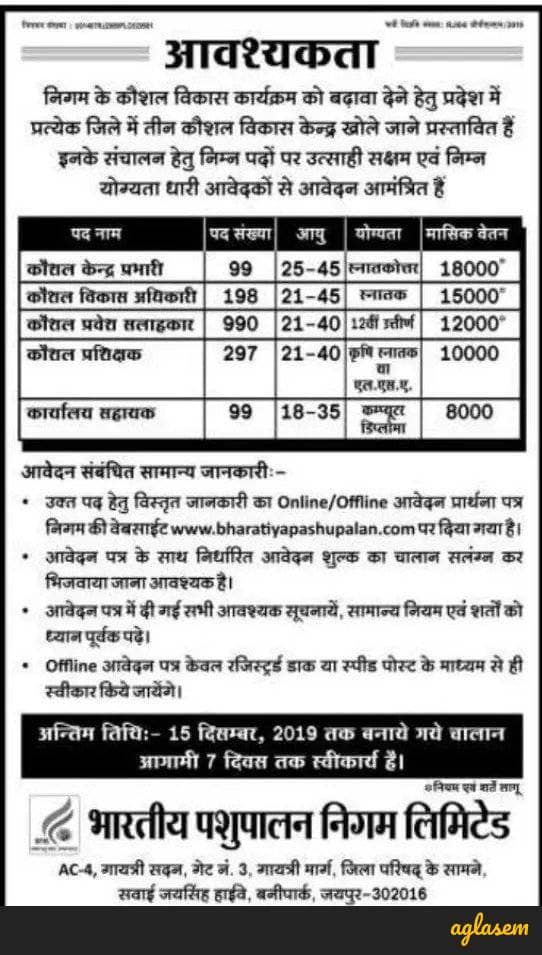 BPNL Recruitment 2019 Notification Out, Apply For 1683 Vacancies @ bharatiyapashupalan.com