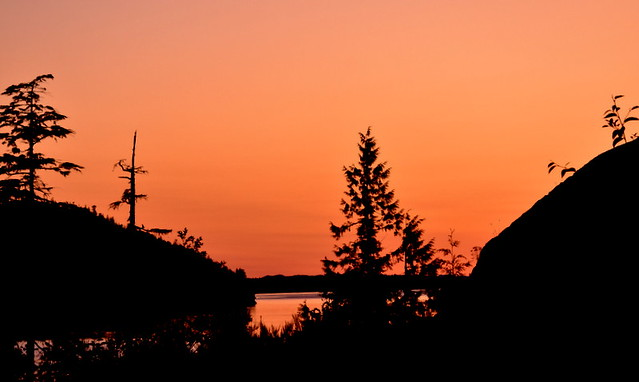 A LOVELY SILHOUETTE AND A BRILLIANT SUNSET!   TELEGRAPH COVE,  BC