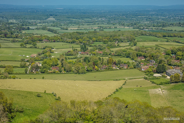 Westmeston, a village at the foot of Ditchling Beacon with the Sussex Weald, beyond.