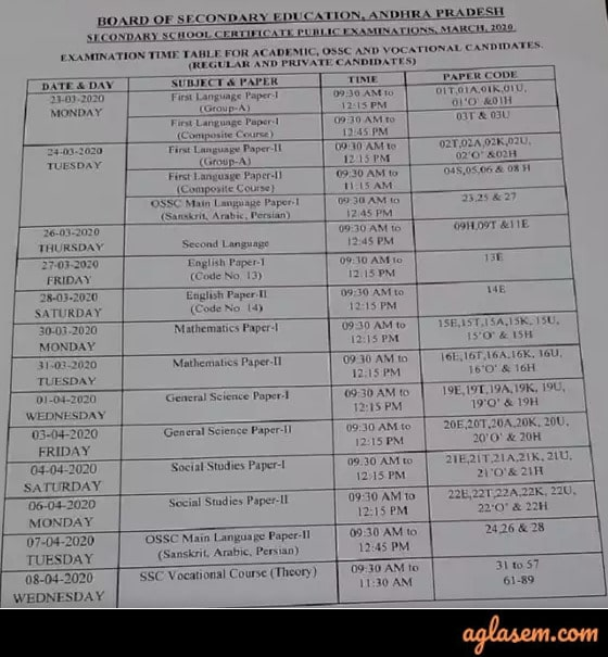 AP 10th Time Table 2020