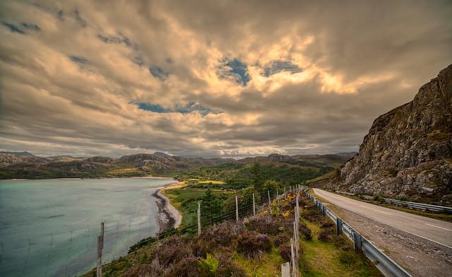 The A832 towards Gruinard beach, Scotland.