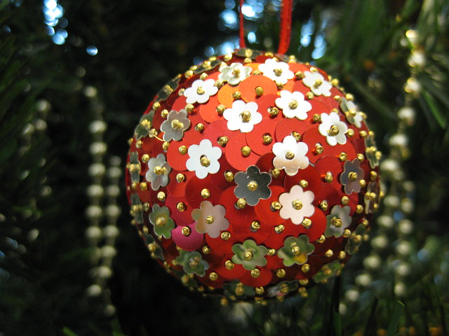 Hand Beaded Cherry Red and Antique Silver Flower Christmas Bauble