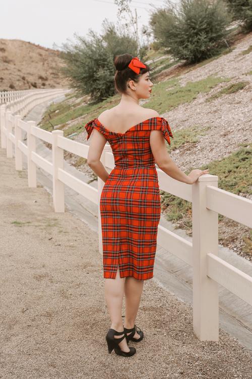 The Pretty Dress Company Tilly Tartan Off The Shoulder Pencil Dress
