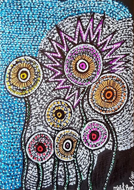 Flowers colorful drawings Mirit Ben-Nun israeli artist
