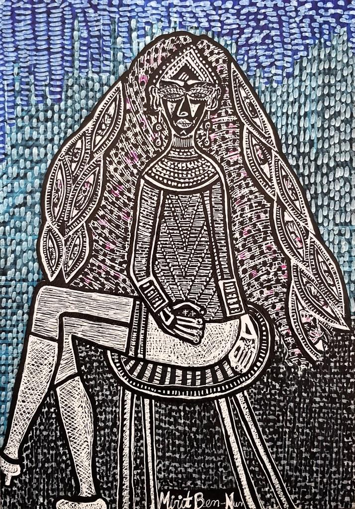 Woman with jewelry israeli painter Mirit Ben-Nun