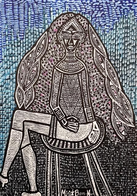 אישה עם תכשיטים עגילים ושרשרת מירית בן נון ציירת ישראלית