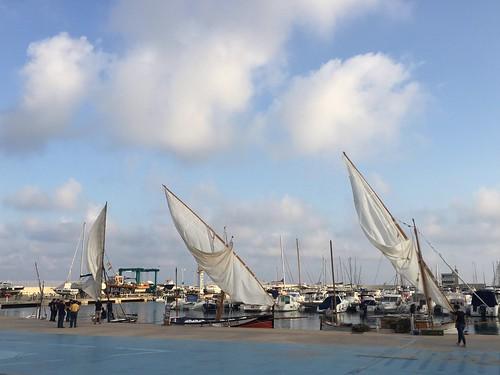 Les barques llatines de l'associació a la plaça del port Segur Calafell, amount se sortir a navegar com cada setmana.
