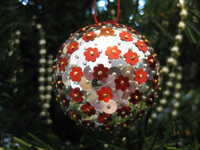 Hand Beaded Silver and Antique Cherry Red Flower Christmas Bauble