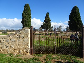 Hynam near Naracoorte. Fine cast iron gates to the walled Smith family cemetery. Walls built in 1875.
