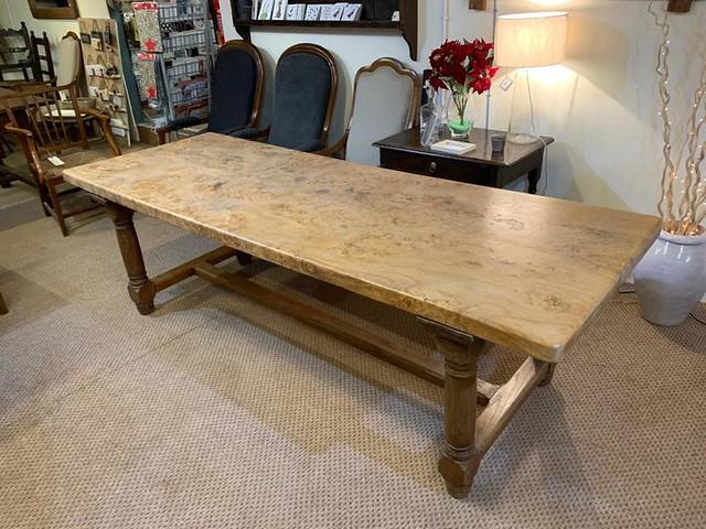 19th Burr Elm Farmhouse Table