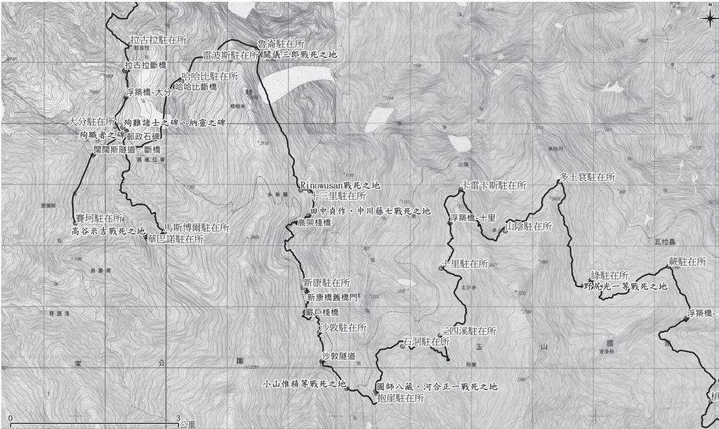 蕨(瓦拉米)駐在所至拉古拉駐在所越道路線及沿線日治時期遺構位置,沿路約莫有幾十座戰死地之碑。資料來源:張嘉榮,圖片提供:健行文化