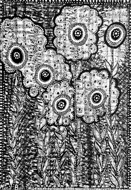 פרחים אמנות ישראלית שחור לבן מירית בן נון ציירת מודרנית