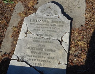 Hynam near Naracoorte. Headstone of Thomas Hope in the Adam Smith family walled cemetery on Hynem sheep station. Hope was buried in 1876.